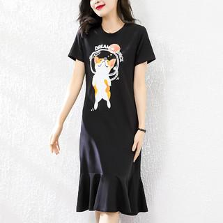 WAXY 2021夏装新款气质短袖鱼尾裙时尚短袖中长款印花连衣裙女
