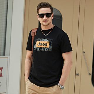 JEEP 吉普 夏季新品男士T恤短袖印花简约透气男款休闲圆领短袖