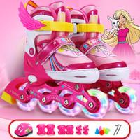 Barbie 芭比 女童轮滑鞋3-12岁护具齐全四档可调全闪
