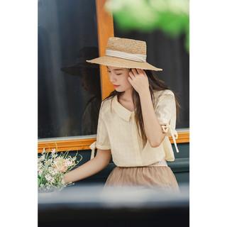 INMAN 茵曼 纯色百搭短袖衬衫女2021夏装新款翻领蝴蝶结系带袖口清新上衣