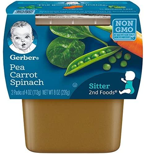Gerber 嘉宝 2nd Foods 豌豆胡萝卜菠菜婴儿食品,4 盎司(约 113.4 克),2 盒(8 组)