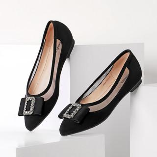 Bata 拔佳新款英伦舒适羊皮女鞋低跟浅口尖头单鞋女鞋