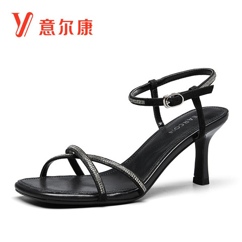 YEARCON 意尔康 女鞋时装潮流一字带优雅仙女风凉鞋细跟漏趾鞋子女 Y351ZL49497W 黑色 36