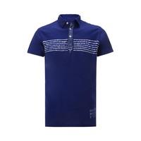 DIESEL 迪赛 Diesel蓝色/玫红纯棉标志性logo细节撞色印花男式短袖T恤