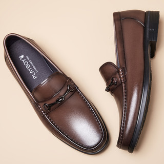 PLAYBOY 花花公子 真皮2021夏季新款时尚商务休闲鞋简约男士休闲皮鞋懒人一脚蹬男鞋