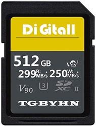 TGBYHN Digital 512GB 系列 SDXC UHS-II 内存卡,V90,CL10,U3,Max R250MB/S,W299MB/S (512GB-250MB)