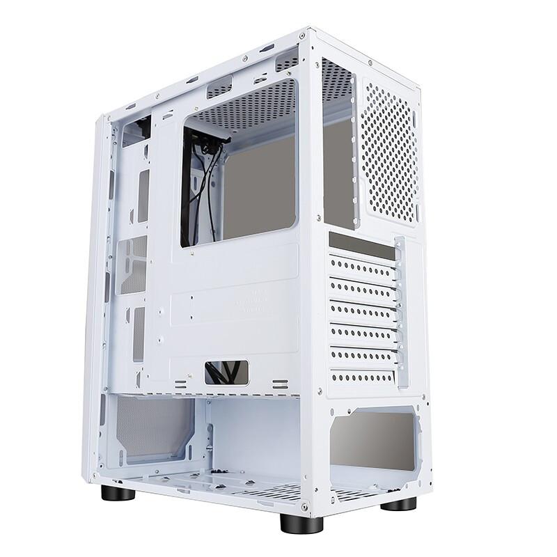 Huntkey 航嘉 暗夜猎手5 电脑机箱台式DIY全侧透游戏水冷ATX大板背线机箱 暗夜猎手5-白色