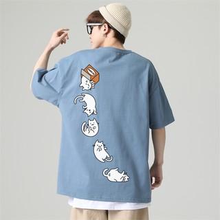 I'm David 男士短袖T恤2021夏季新款圆领纯棉简约休闲卡通印花百搭