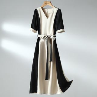 FIRS 杉杉 2021新款时尚拼接设计感气质裙子收腰休闲连衣裙女