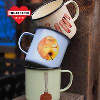 宋祖儿同款 seletti搪瓷带把水杯ins茶杯潮流创意家用马克杯礼物 手指