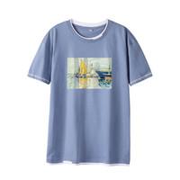 FOREVER 21 2021年夏季男式T恤假两件抗皱青年男士t恤短袖