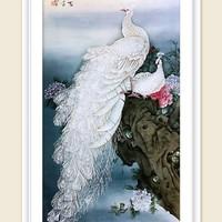 国展珍品 梅湘涵先生国画 69x140厘米 工笔画花鸟 绢本