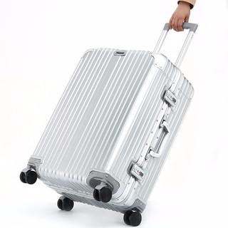 黑沙 行李箱皮箱拉杆箱旅行箱密码锁商务硬箱子男女万向轮旅行箱包登机箱20/24/28英寸H816 H821-01亮面银(铝框) 20英寸