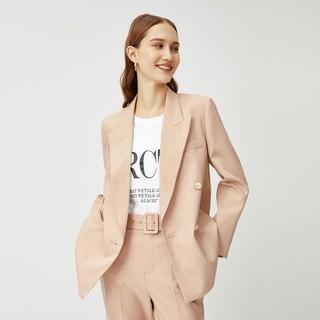 eifini 伊芙丽 万茜同款韩版职业小香风长袖双排扣西装外套女(不配送腰带)