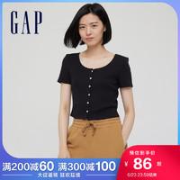 Gap 女装复古纯棉U领针织短袖T恤 771051 黑色 S