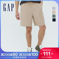 Gap男装亚麻混纺宽松直筒裤698999夏季2021新款卡其休闲运动短裤 卡其色 175/80A(S)