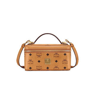 MCM 女士时尚铆钉轮廓棕色小号Rockstar化妆盒手提包单肩斜挎包