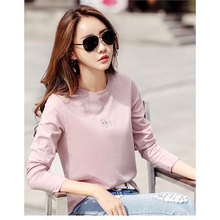 HOFESOWEN 红粉宣言 2021春季新款女装上衣百搭宽松长袖t恤女打底衫女 粉红色 L