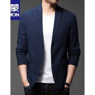 ROMON 罗蒙 春秋季西服男士休闲纯色薄款小西装修身单西外套韩版潮 深蓝色 190/100A