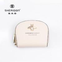 SHERIDAN 喜来登 Sheridan喜来登 牛皮 女士小黄蜂卡片包 零钱包 米白色