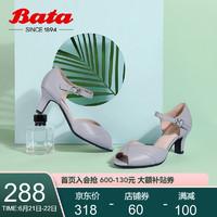 Bata 拔佳时尚精选夏专柜同款仙女通勤鱼嘴羊皮革高跟女一字带凉鞋ABS01BL0锥形跟 灰色 35