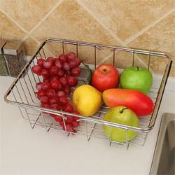 不锈钢洗菜盆伸缩果蔬水槽沥水篮 碗碟收纳洗菜篮厨房水槽沥水架