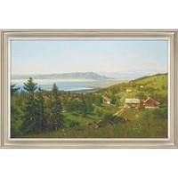 橙舍 费迪南德· 霍德勒 风景油画《博登湖》装裱80x120cm 油画布 淡雅金
