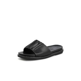 Tata 他她 2021夏甜美褶皱一字拖鞋舒适低跟女鞋新款