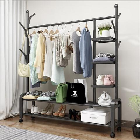 德盈 挂衣架落地卧室移动简易晾衣神器单杆收纳储物家用室内衣帽架小型