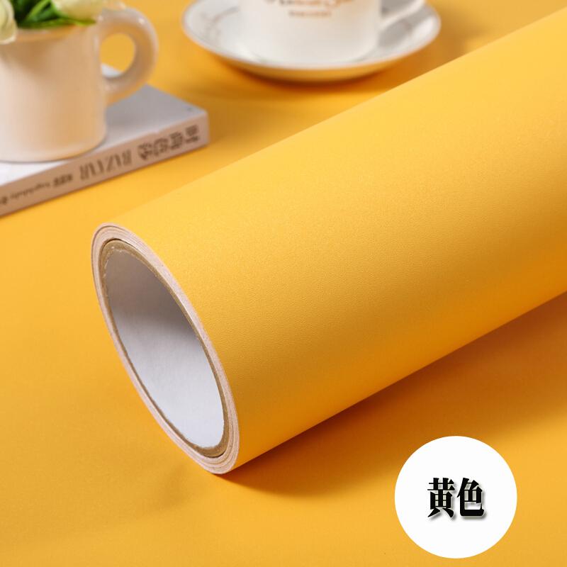 OLOEY 加厚自粘糖果色防水墙纸贴纸 黄色 3m