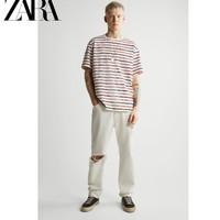 ZARA 00722438076 男装宽松全棉条纹印花短袖T恤