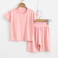 逸少 儿童家居服 短袖高腰粉色