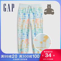 Gap男女幼童纯棉运动裤442430 2021夏季新款童装束脚裤