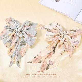 雪纺碎花飘带蝴蝶结头饰发夹女韩国网红珍珠坠后脑勺顶夹发饰夹子