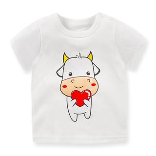 萌趣熊 儿童短袖t恤纯棉 男女童T恤衫打底单上衣夏季童装 G022-爱心小牛 110