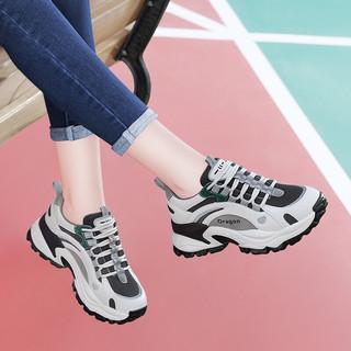 百年纪念 Centenary 二层牛皮厚底网红老爹鞋女新款百搭旅游韩版休闲运动鞋女鞋子2346 米绿 40