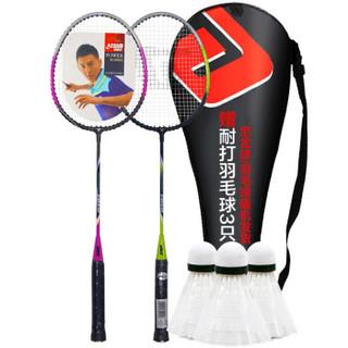 红双喜(DHS)羽毛球拍对拍套装含羽毛球经典入门训练羽拍2支双拍 紫/绿