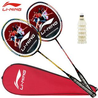 李宁(LI-NING)羽毛球拍2支中杆碳素280碳复合双拍对拍AYPP396 (送拍套6支球 手胶2个)穿线