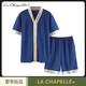 La Chapelle+男士日式睡衣2021年新款夏季短袖短裤薄款套装家居服 42.2元