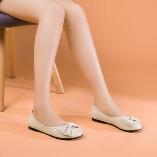 goldlion 金利来 夏季单鞋轻软舒适牛皮甜美蝴蝶结浅口单鞋休闲圆头一脚蹬平底鞋女