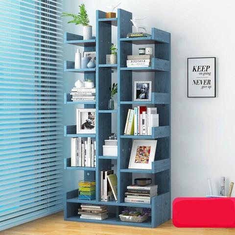 米囹 书架落地置物架家用收纳架学生书柜
