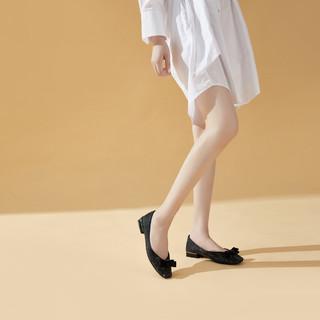 goldlion 金利来 夏季网红贴钻仙女风蝴蝶结鞋子日常休闲粗低跟方头女单鞋女鞋