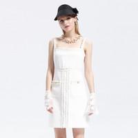 Five Plus 5+ 2ZN2080350010 女士法式仿花呢格子肌理吊带裙