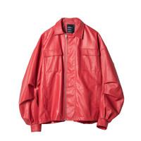 ROARINGWILD 男女款PU皮夹克 011920136-01 珊瑚橙 XL