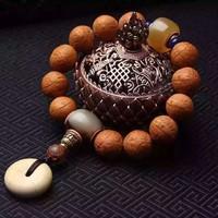尼泊尔 黄皮凤眼 菩提子 佛珠手串 原籽 凤眼菩提子 单圈手链 1.4-1.6cm