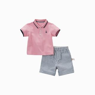 DAVE&BELLA 戴维贝拉 童装男童套装宝宝翻领短袖T恤条纹短裤休闲套装