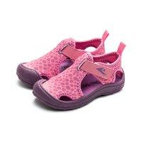 kids.ing kidsing女童凉鞋豹纹夏季包头儿童软底中大童沙滩运动鞋