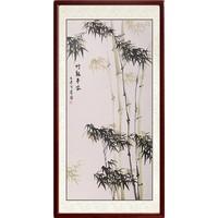尚得堂 墨翁 手绘国画《竹报平安》装裱65x125cm 宣纸 沙比利实木框