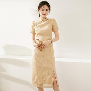 LOUIS YAO 白鹿语 WYU21681 女士珍珠扣刺绣改良旗袍