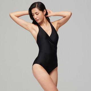 SPEEDO 速比涛 Speedo/速比涛 新款纤姿 抗氯防晒修身泳衣  女子连体游泳衣  显瘦温泉游泳装 黑色 36